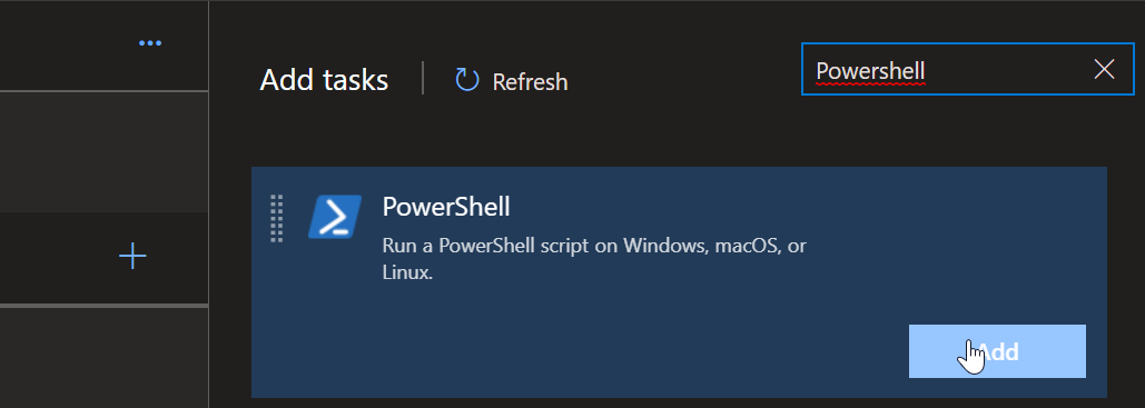 Adding Powershell Task