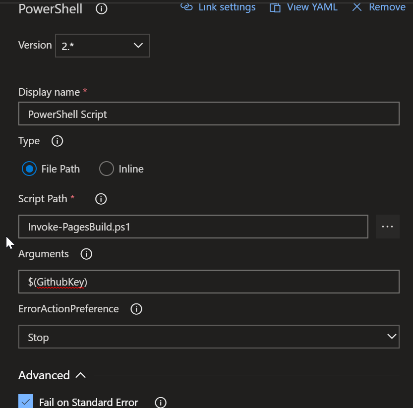 Powershell Task Options